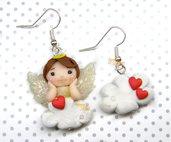 Orecchini angelo su nuvola e cuori kawaii fimo regalo san valentino
