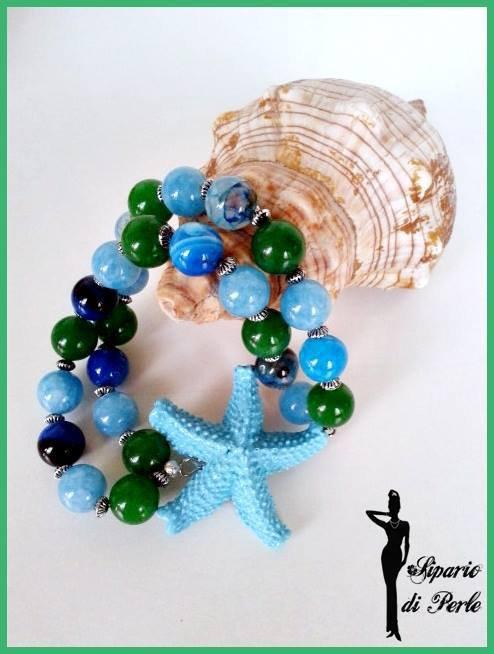 Bracciale elastico doppio filo con stella marina - ANTEPRIMA ESTATE