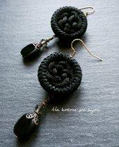 Orecchini con bottoni vintage in tessuto