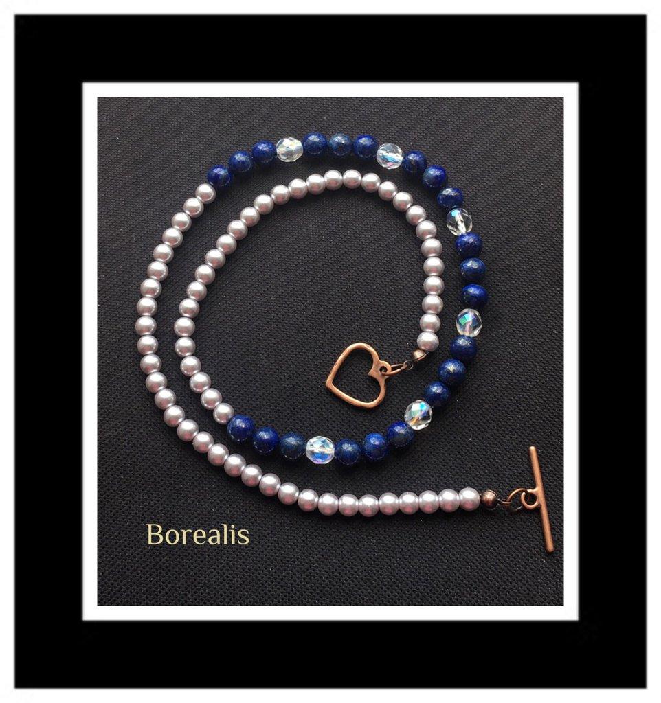 Collana Lapislazzuli e Perle di Boemia