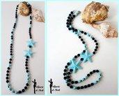 Bellissima collana lunga in vetro di boemia nero e azzurro con stella marina - ANTEPRIMA ESTATE