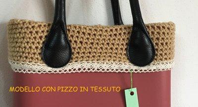 bordo ***COLORE A SCELTA LANA+ PIZZO*** o bag compatibile classic o mini