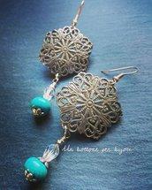 Orecchini con bottoni vintage in metallo argentato