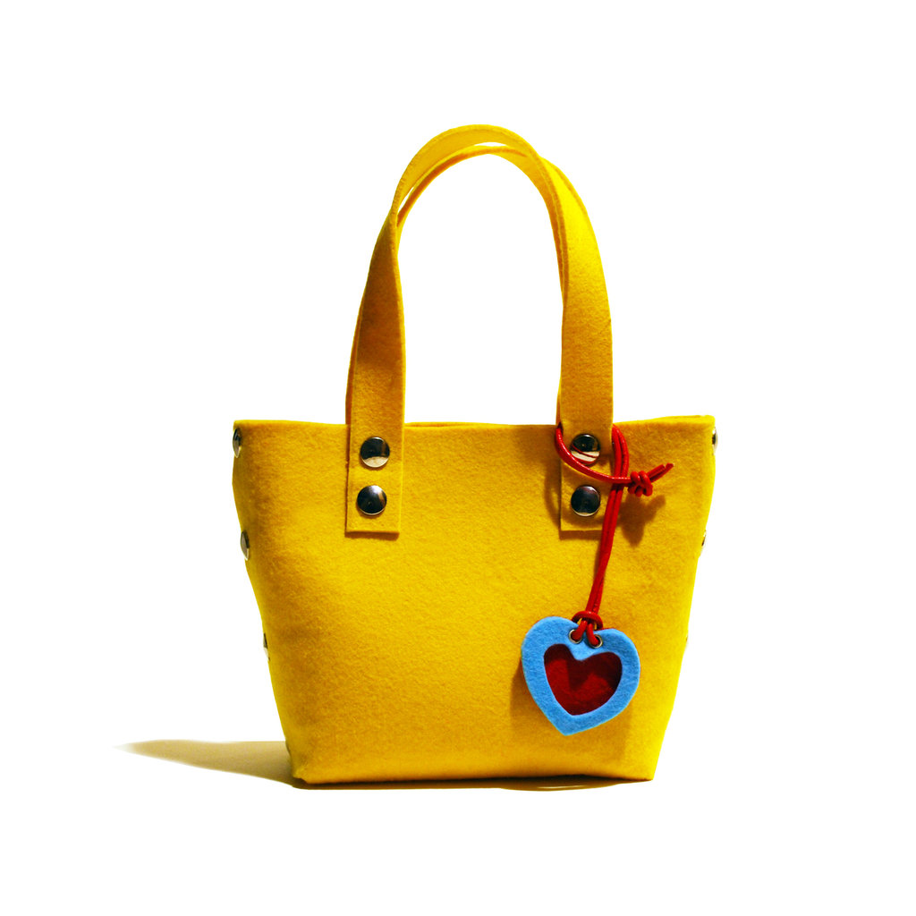 Little Shopping Bag in feltro giallo, borsa gialla, borsa in feltro