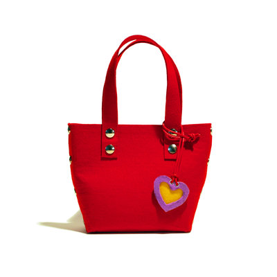 Little Shopping Bag in feltro rosso, borsa rossa