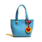 Little Shopping Bag in feltro celeste, borsa celeste