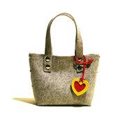 Little Shopping Bag in feltro grigio, borsa grigia