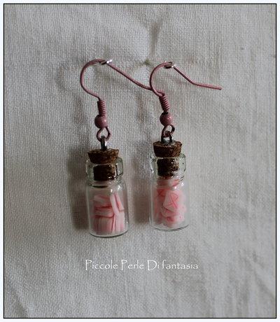 Orecchini bottiglietta con simbolo donna