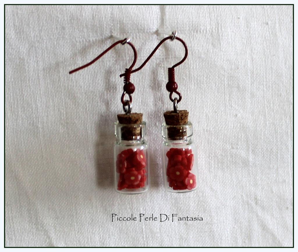 Orecchini bottiglietta fiorellini rossi