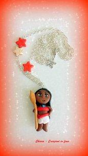 Collana con ciondolo in fimo fatto a mano con Vaiana di Oceania kawaii idee regalo compleanno bomboniera