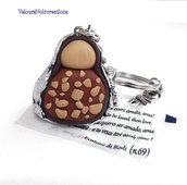 Portachiavi cioccolatino  bacio perugina in fimo