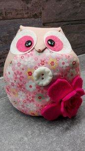 gufo fermaporta rosa con roselline