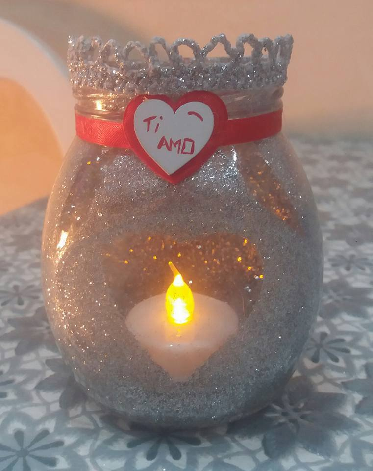 """Portacandele di vetro con cuori rossi fatto a mano """" Ti Amo"""""""