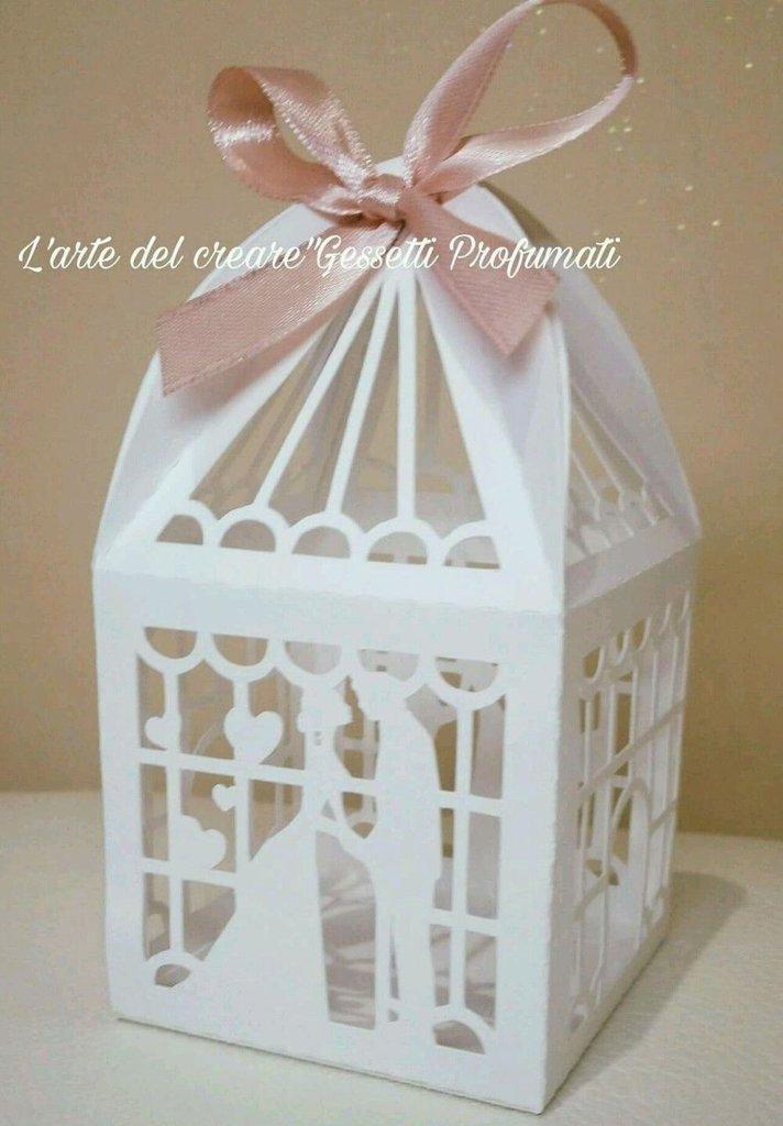 Scatola bomboniera (0,90pz)sacchetto porta-confetti matrimonio nozze sposi cuore