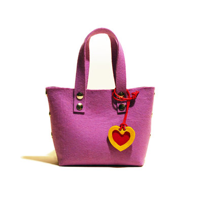 Little Shopping Bag in feltro viola, borsa viola