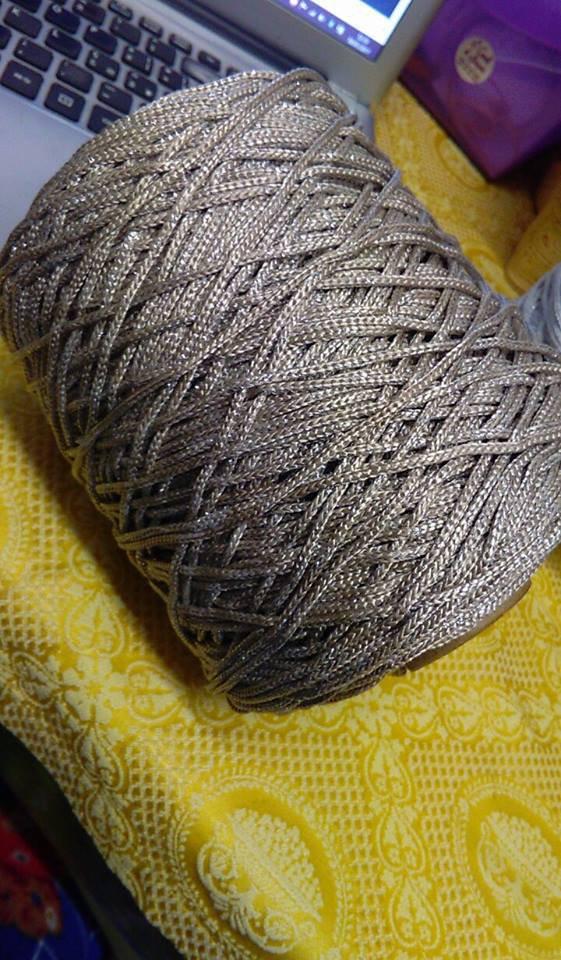 cordino thai effetto seta beige lurex