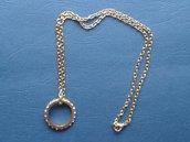 Collana metallo dorato con anello di strass