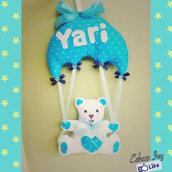 Fiocco nascita orsetto in paracadute personalizzato bimba bimbo maschietto femminuccia rosa azzurro