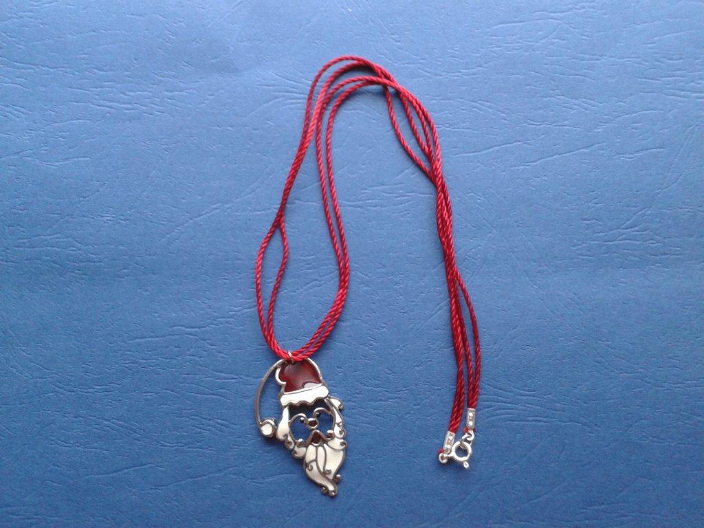 Collana cordoncino con ciondolo Babbo Natale Creazione Originale