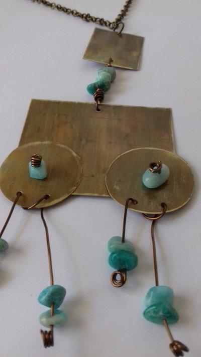 """Collana """"Robot"""" in ottone e pietre dure"""