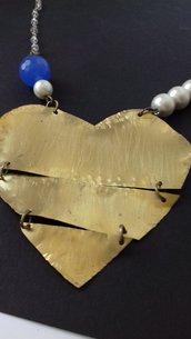 Collana cuore spezzato in ottone