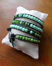 Bracciale wrap verde, bracciale in cuoio, bracciale lungo, chan luu Style, idea regalo