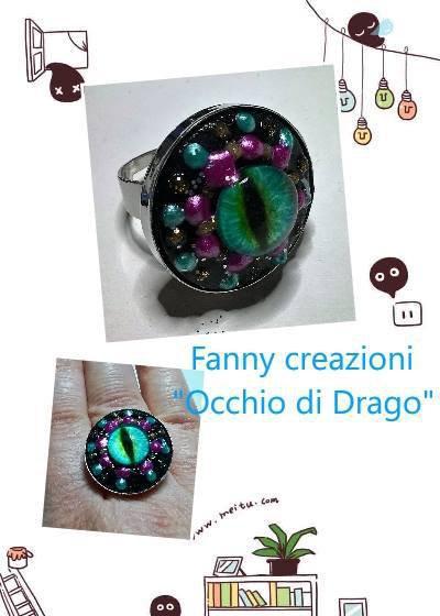 """Anello """"Occhio di Drago"""" in legno su base color argento ,fatto a mano"""