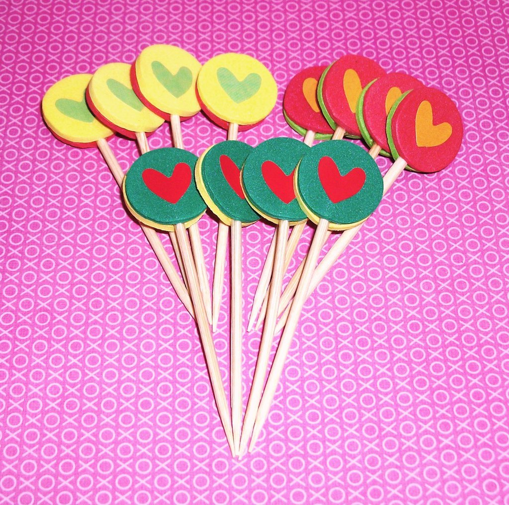 San Valentino Collection! - Muffin e CupCake Toppers^^ - Decorazioni per Dolci - LoveSet-1^^ (lotto 12pz)