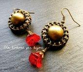 Orecchini con bottoni vintage in metallo bronzato e fiori di vetro ceco