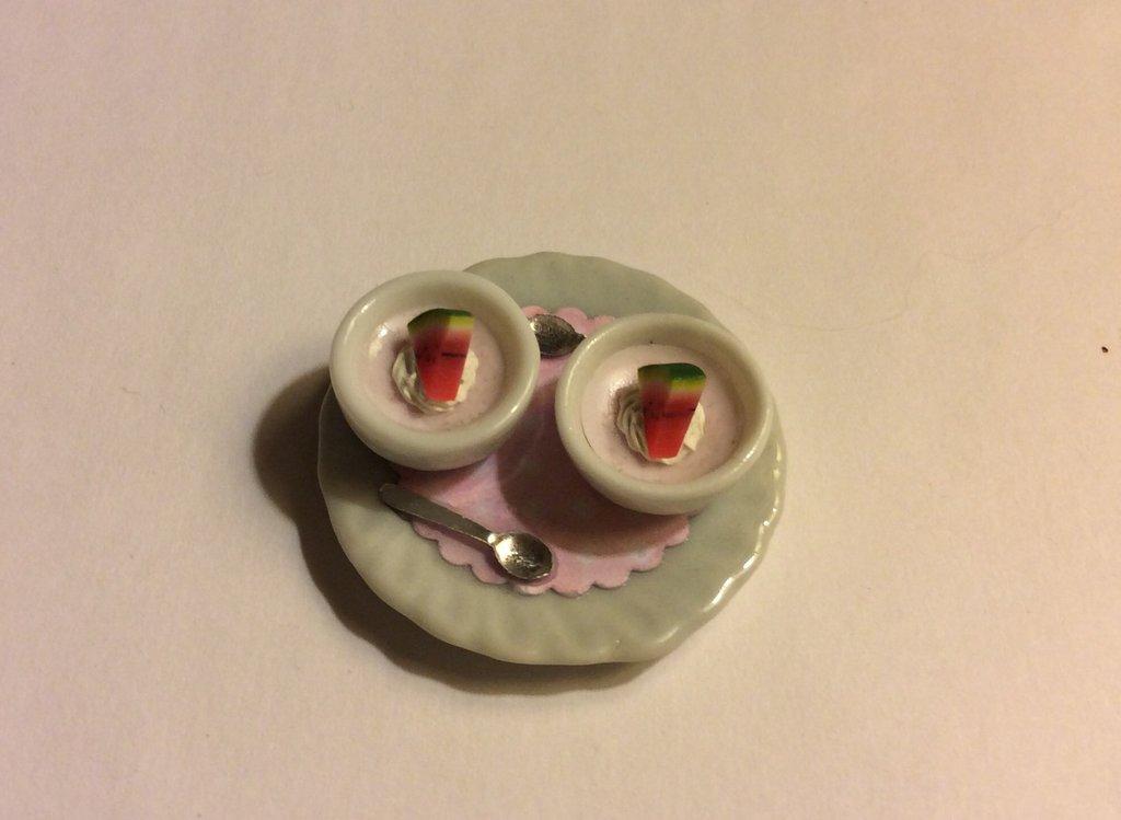 Vassoio con mousse al cocomero dollshouse miniature
