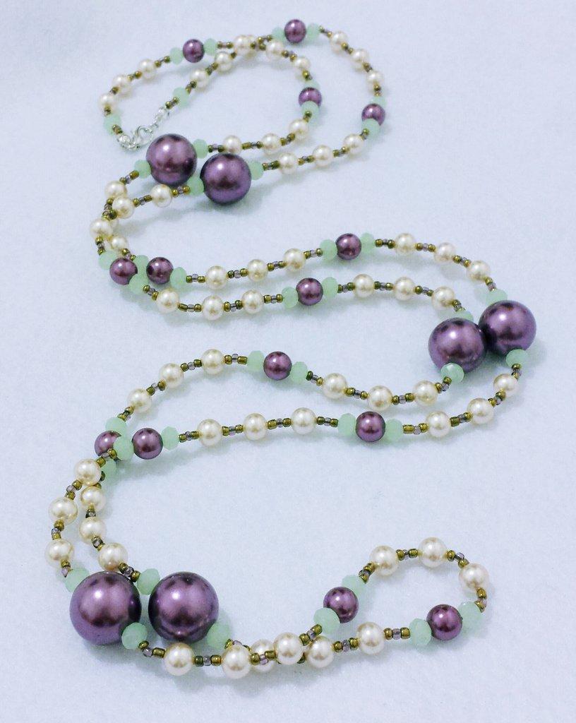 "Collana lunga  con perle di Maiorca e cristalli ""Perle di Eera"""