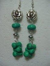 orecchini con rose shabby in argento e turchese