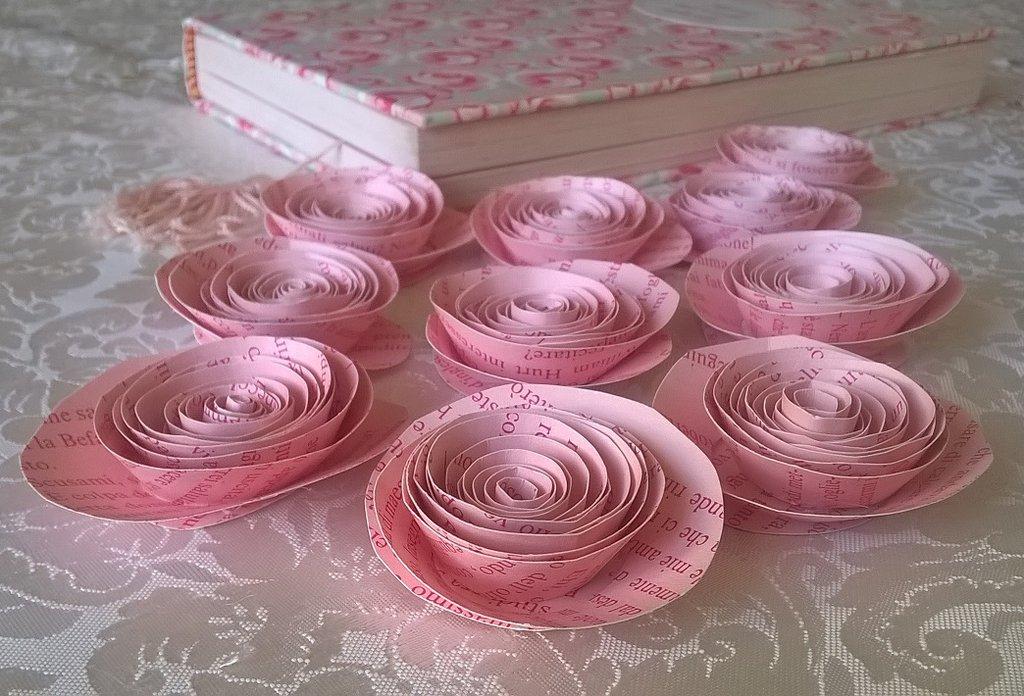 fiori di carta, 10 rose rosa, decorazione tavola, matrimonio, san valentino, compleanno, centrotavola, segnaposto