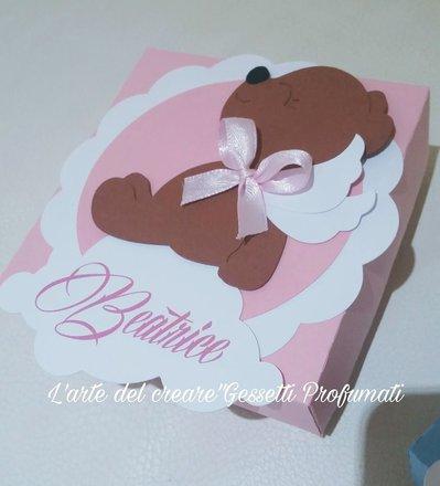 Scatola bomboniera (0,80pz) sacchetto porta-confetti Battesimo Nascita nome orso
