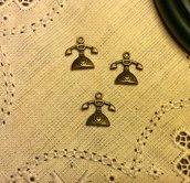Ciondolo telefono in metallo color bronzo antico