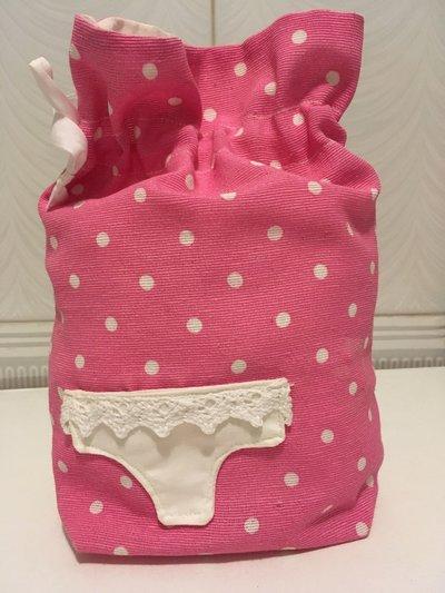 Sacca mini porta biancheria/costumi rosa pois DONNA/BIMBA
