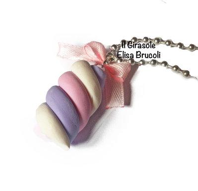 Collana marshmellow rosa e lilla lunga con fiocchetto in raso