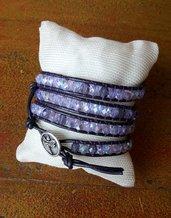 Bracciale in cuoio ametista, bracciale chan luu style viola, bottone libellula, idea regalo per lei