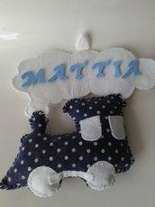 Fiocco nascita trenino in pannolenci