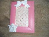Cornice nascita rosa,cornice bebè, con angioletto