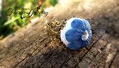 Anello fiore fimo pasta polimerica regolabile filigrana bronzo ottone