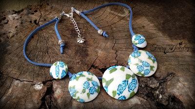 Collana dischi bombati in pasta polimerica e alcantara  rose blu