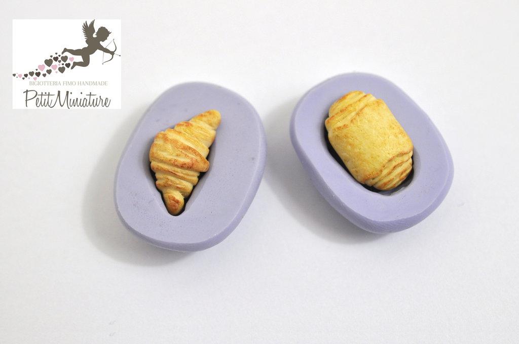 STAMPO PANE fimo croissant in silicone flessibile stampo dolci dollhouse fimo gioielli charms cabochon cibo in miniatura kawaii ST249