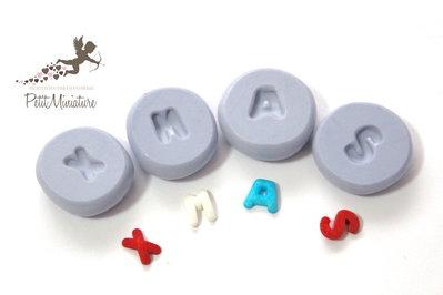 Kit Stampo 4 stampi silicone flessibile scritta XMAS di natale misura lettera 10mm- stampo gioielli fimo kawaii resina sapone fimo ST254