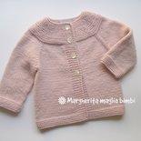 Cardigan/maglia/golfino bambina lana/alpaca rosa top-down fatto a mano