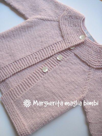 aspetto dettagliato 3a1db ad8e2 Cardigan/maglia/golfino bambina lana/alpaca rosa top-down fatto a mano