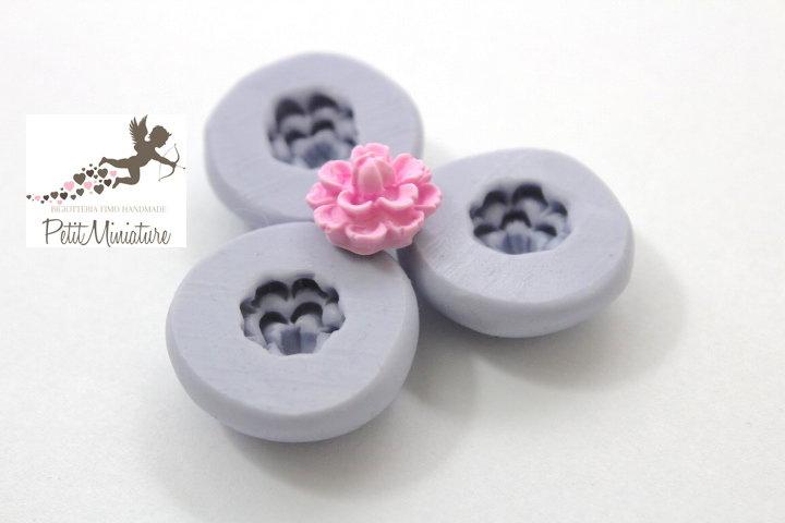 STAMPO FIORE 1,2cm in silicone flessibile 3d-stampo fimo fiore rosa miniature dollhouse charm kawaii fimo gioielli sapone resina gesso ST273