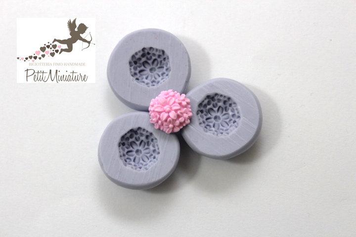 STAMPO FIORE 1,2cm in silicone flessibile 3d-stampo fimo fiore rosa miniature dollhouse charm kawaii fimo gioielli sapone resina gesso ST274