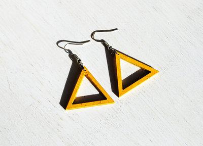 Orecchini triangoli gialli, cerchi pendenti gialli, orecchini in legno, orecchini laccati