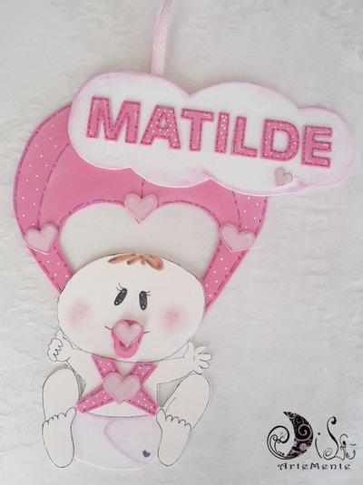 Fiocco nascita paracadute bebè per bimba personalizzabile banner name nuvoletta